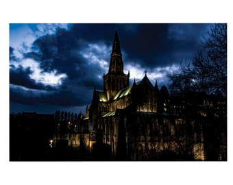 A4 Fine Art Print of  Glasgow Cathedral at Night