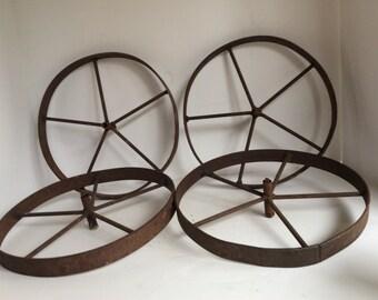 Vintage Farm Cart Wheels. Set of Four Wheels