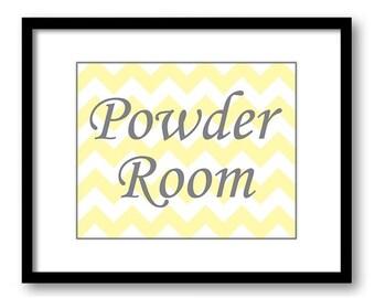 Bathroom Decor Bathroom Print Yellow Grey Gray Chevron Bathroom Art Print White Powder Room Wall Decor Modern Minimalist