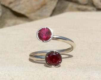 Ruby Zircon Two Stone Sterling Silver Ring, Dual Gemstone Ring, Ruby Zircon Curly Ring, Adjustable Silver Ring