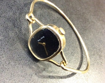Gold Roy King bangle watch , 1976 9ct hallmarked