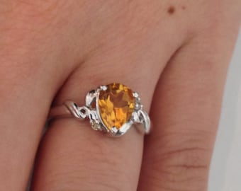 Natural Citrine with Natural Diamond Ring 925 Sterling Silver