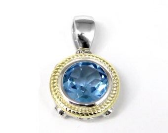 6303S 1.6ct Round Blue Topaz Sterling Silver Pendant with 14k Gold Accents