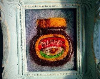 Handmade needle felted picture 'i love marmite' design in vintage ornate frame