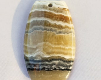 Yellow Banded Agate Pendant - 27mm x 40mm