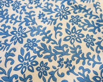 Blue and White Floral hand block Print cotton Fabric
