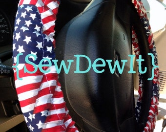 Steering Wheel Cover American Flag Print USA