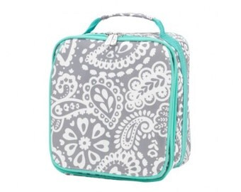 monogrammed lunch bag, insulated lunch bag, personalized lunch bag