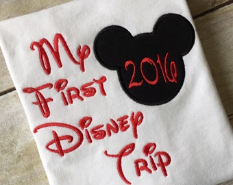 My First Disney trip Mickey Mouse on a white T-shirt.  Inspired by Disney and Mickey Mouse.