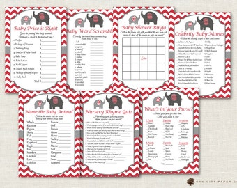 Red Elephant Baby Shower Games - Red Baby Shower Games, Red Elephant Baby Shower Games, Red and Gray Elephant Baby Shower Games