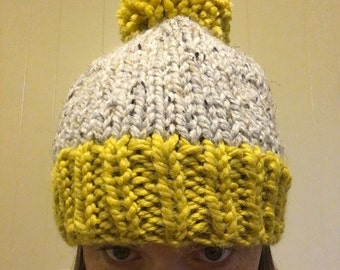 SALE. Ready to ship. Adult Slouchy Hat. Knit-gray-yellow-beanie.