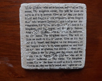 Set of 4 Tumbled Stone Tile Coasters - The Lord's Prayer