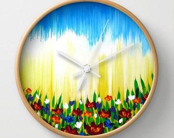 wall clock, watercolor clock, watercolor print, prints, clock with flowers, bright clock present for a friend, bright clock, bedroom clock,