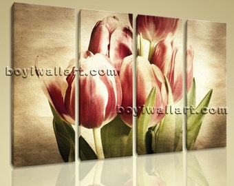 "Large Wall Art Print Canvas Retro Artistic Tulip Flower Petals Blossom Stretched, Tulip Flowers wall decor,  size art print, 51""x36"""