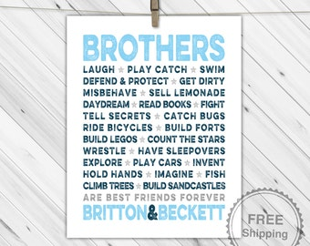 personalized brothers playroom, bedroom or bathroom decor - brothers sign canvas or print - navy, blue and gray twin wall art
