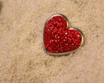 HEART SNAP, BEAUTIFUL red rhinestone heart