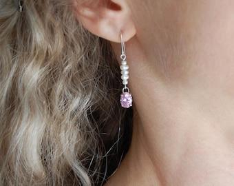 Pink Earrings Handmade Sparkly Earrings Silver Long Drop Earrings Pink Faceted Earrings