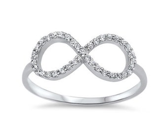 Womens 925 Sterling Silver Infinity CZ Ring Size 6 7 8 9
