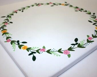 Floral Wreath Canvas // 12x12 // Customizable