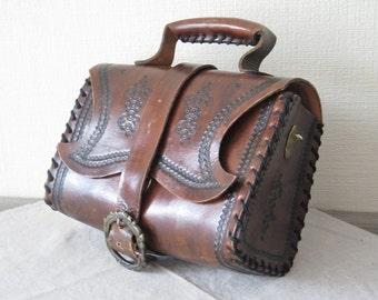 Vintage Genuine Leather Handbag, Dark Brown Tooled Embossed Leather Handbag, Thick Leather Handbag @130