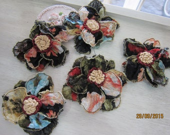 Set of 5pieces -Tattered Fabric Flowers/NF39-Gypsy Fabric Flower/Handmade Fabric Flower/Head pieces/