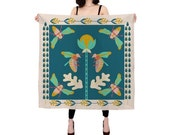Secret Garden Silk Scarf - square scarf- silk accessories - perfect gift for her