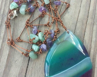 Purple green onyx agate crystal copper necklace