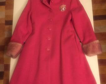 Pink Hooded Wool Coat