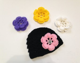 PREEMIE Crochet Flower Hat, Preemie Photo Prop, Baby Girl Crochet Hat, Baby Girl Hat