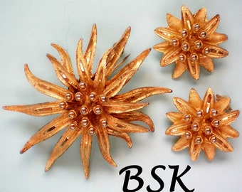 BSK Flower Brooch with Matching Earrings - 4397