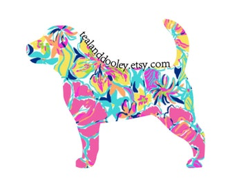 Lilly Pulitzer Inspired Beagle Vinyl Decal