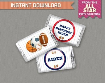 Sports Party Mini Chocolate Wrappers - All Star Birthday - All Star Party - INSTANT DOWNLOAD - Edit and print at home with Adobe Reader