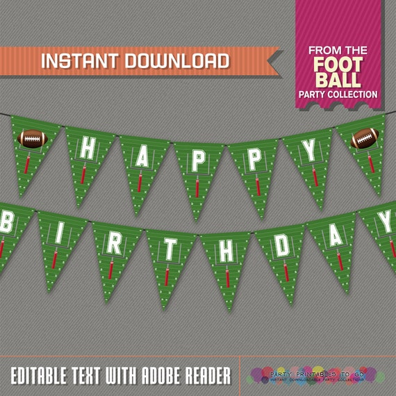 Football Birthday Banner with Spacers - INSTANT DOWNLOAD ...
