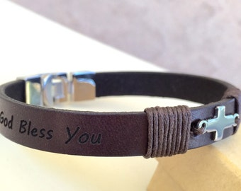 FREE SHIPPING-Mens Leather Braceleet,Stainless Steel Bracelet,Men Custom  Bracelet,Men Cross Bracelet,Men Personalized Bracelet,Men Bracelet
