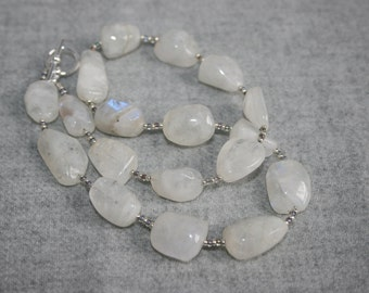 Moonstone Nugget and Seed Bead Necklace