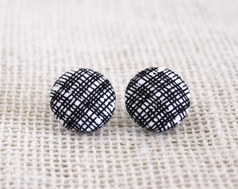 Fabric Button Earrings - Black/White Criss Cross