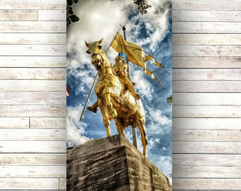 JOAN OF ARC - New  Orleans Art - French Quarter Photography - Statues -Wood Panel - Art Panels -