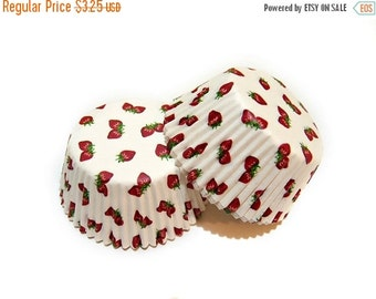 SUMMER SALE Red Strawberry White Cupcake Liners (50)