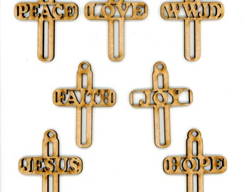 Cross Ornaments- Set of 7 - 3 inches - Wood Ornaments - Peace, Love, WWJD, Faith, Joy, Jesus, Hope