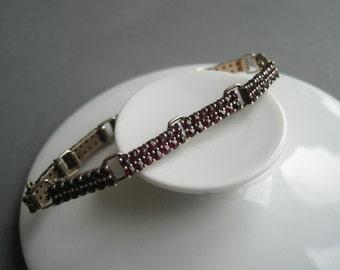 Art Deco genuine garnet and silver bracelet, 1930s.