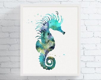 Seahorse Wall Decor, Seahorse Wall Art, Watercolor Seahorse, Nautical Wall Art, Nautical Decor, Beach Wall Art, Coastal Decor, Sea Life