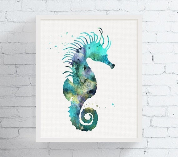 seahorse wall decor seahorse wall art watercolor seahorse. Black Bedroom Furniture Sets. Home Design Ideas
