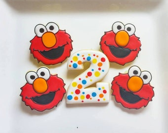 1 DOZEN - Party Favors Elmo Sesame Street 1st Birthday Custom Decorated Cookies