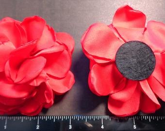 "1 Each 3.5"" Red Singed Fabric Flower - Hair Bow Embellishment"