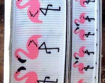 """2 Yards 3/8"""" or 7/8"""" Fancy Pink Flamingo Print Grosgrain Ribbon - US Designer"""