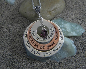 Sterling Silver Graduation Necklace - Go Confidently In The Direction Of Your Dreams...