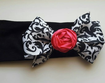 Simple Rosette On A Black & White Bow Baby Headband