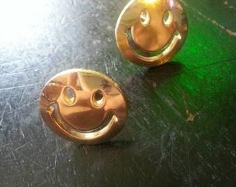 Golden Smiley Face Cufflinks