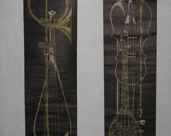 Pair vintage paper wall hanging instruments scrolls black gold