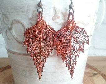 Fall Earrings, Leaf Earring, Copper Earrings, Autumn Earrings, Fall Jewelry, Leaf Jewelry, Autumn Jewelry, Foliage Jewelry, Boho Earrings